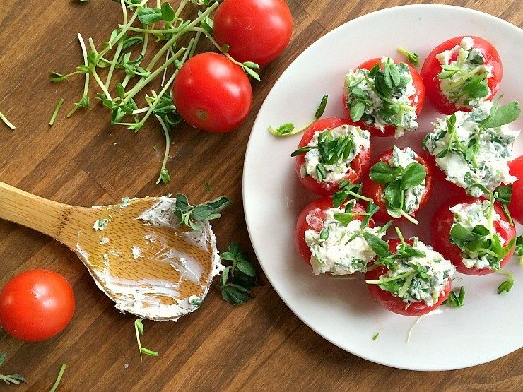 Simple and easy recipe for cheese stuffed tomatoes from nelliebellie.com