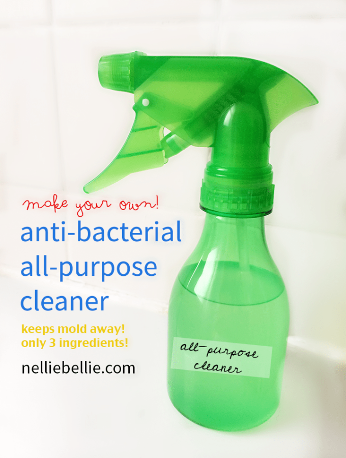 DIY anti-bacterial, all-purpose cleaner. Only 3 ingredients...easy to find!! ~www.nelliebellie.com | DIY antibacterial cleaner