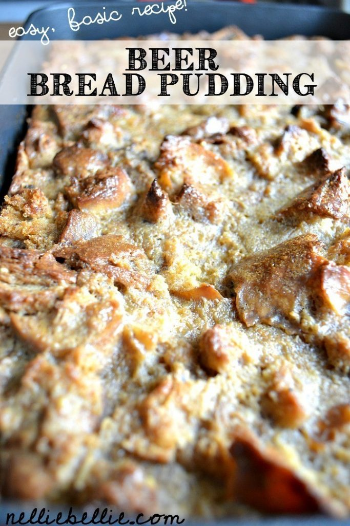 A basic bread pudding recipe using day old bagels and beer!