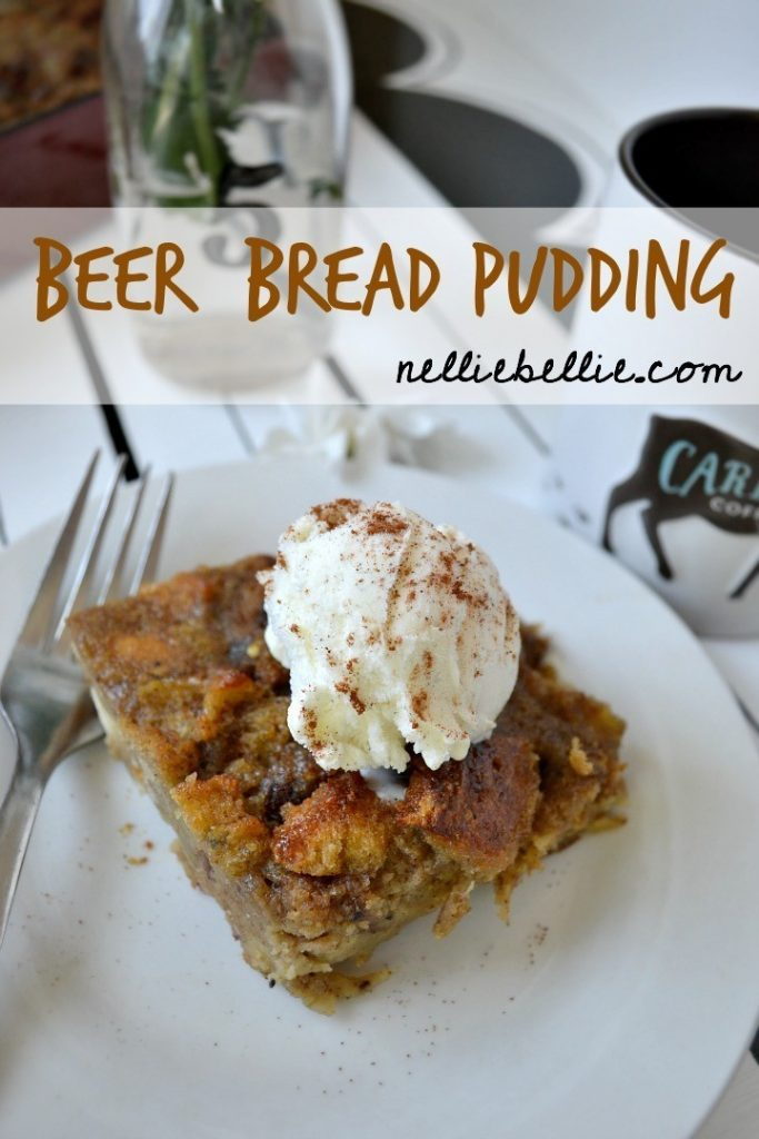A basic recipe for bread pudding using day old bagels and beer!