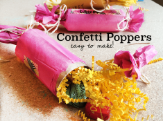 confetti poppers tutorial. Easy to make with toilet paper tubes. Video tutorial to make it easy!