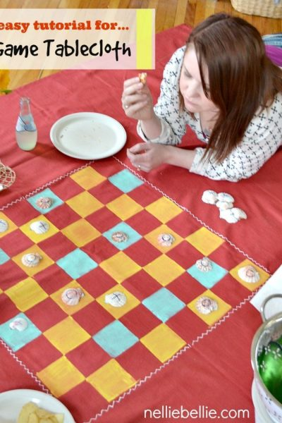 turn a sheet or tablecloth into a picnic blanket game board