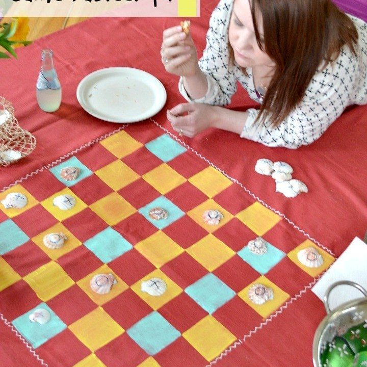 Make a DIY game board from a tablecloth.