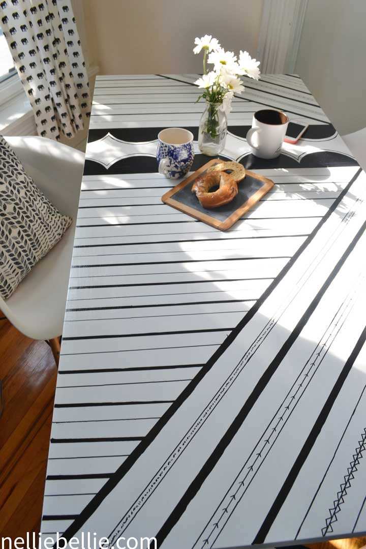 Sharpie Table; an easy update with oil-based Sharpies and paint, from NellieBellie