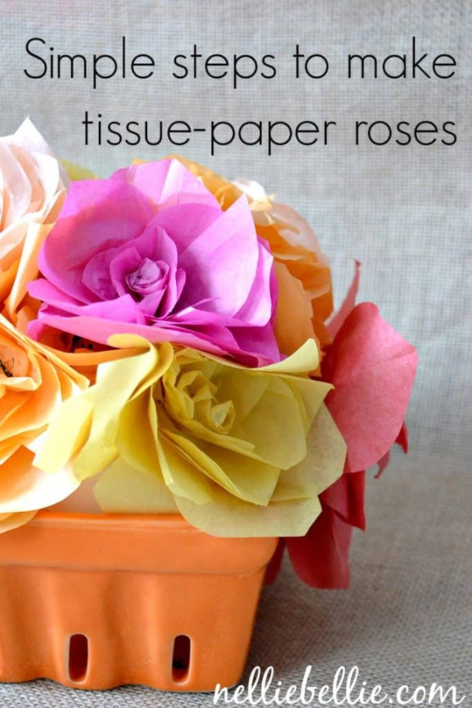 Simple steps to make a tissue paper rose...with video tutorial.