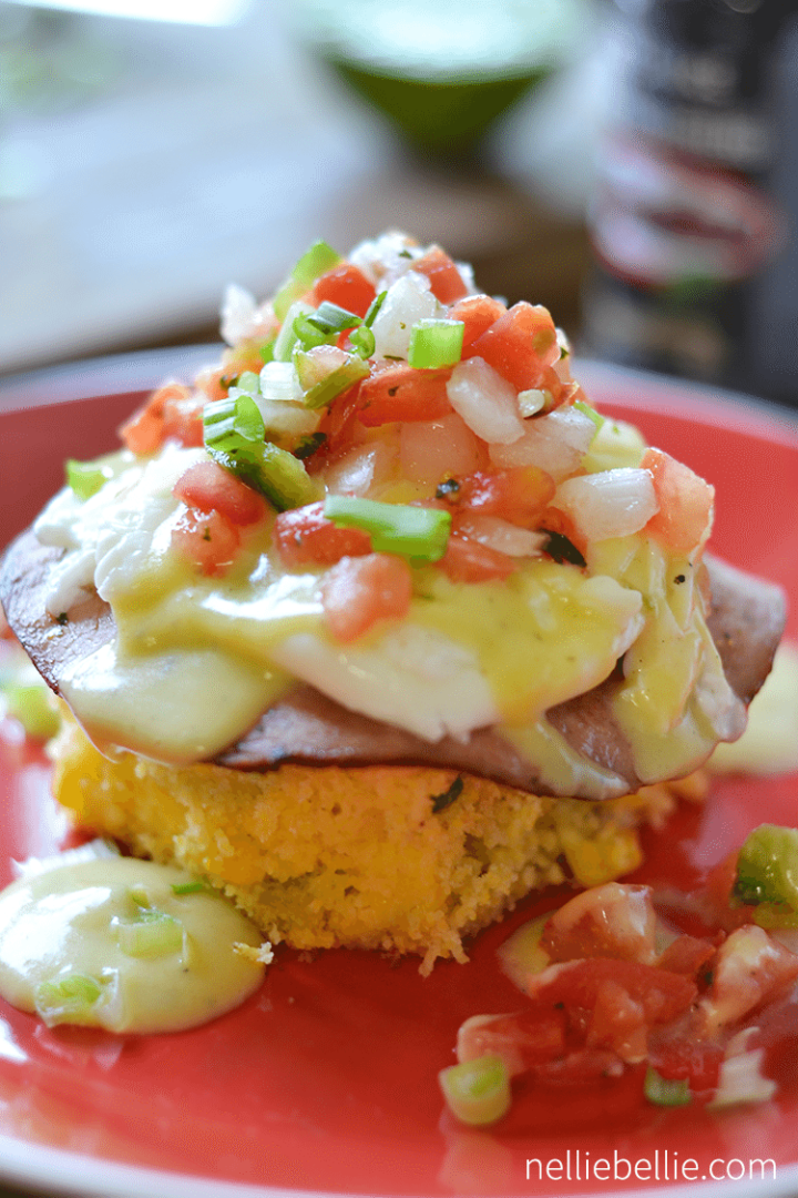 tex mex eggs benedict...easy, delicious, and a great Saturday morning breakfast! ~www.nelliebellie.com #breakfast #texmex #eggsbenedict