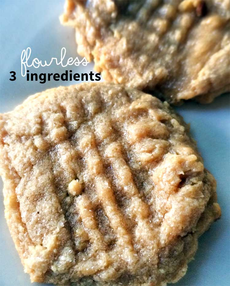 easy peanut butter cookies from NellieBellie that are gluten-free! These 3 ingredient cookies are simple, delicious and use just 1 bowl.