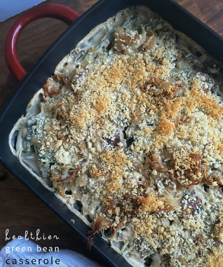 Healthy green bean casserole from NellieBellie #Christmas #greenbeancasserole