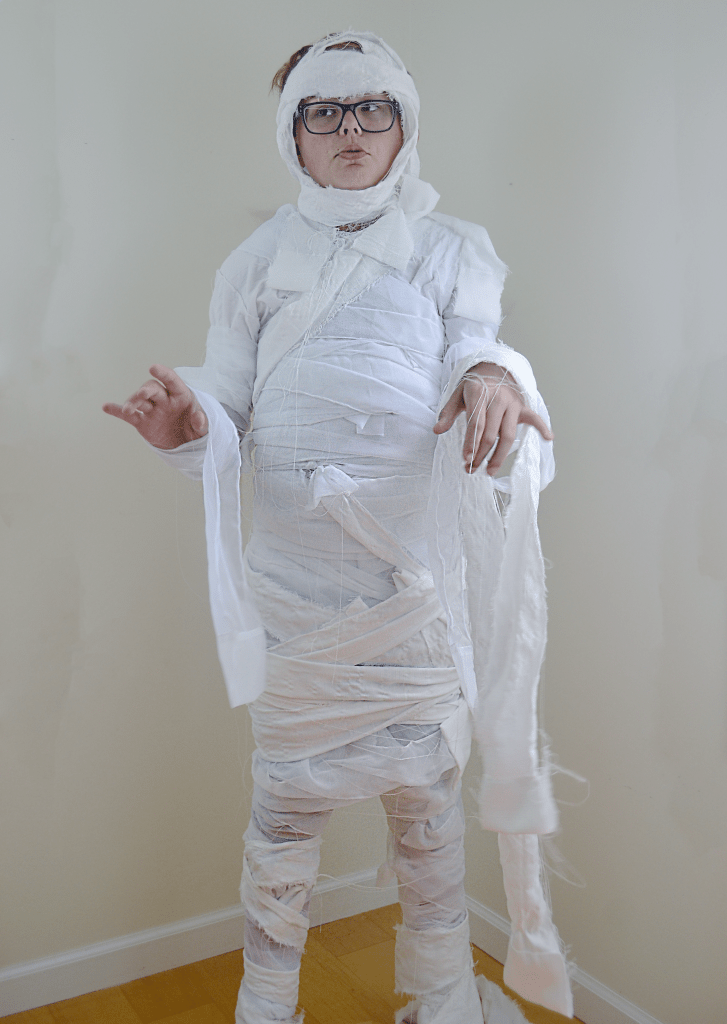 As featured in All You Magazine, this is a classic DIY Halloween mummy costume with an easy to follow tutorial.