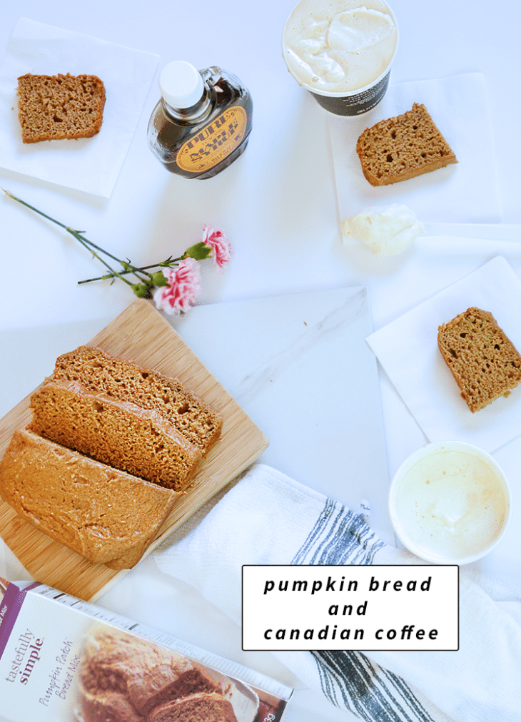 pumpkin bread and canadian coffee is perfect for coffee time! The Canadian coffee is a very simple recipe, all you need is the ability to make coffee, maple syrup, and whipped cream.| nelliebellie.com |