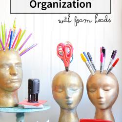 Office organization with foam heads and FloraCraft | tutorial #craft #organization #MakeitFunCrafts