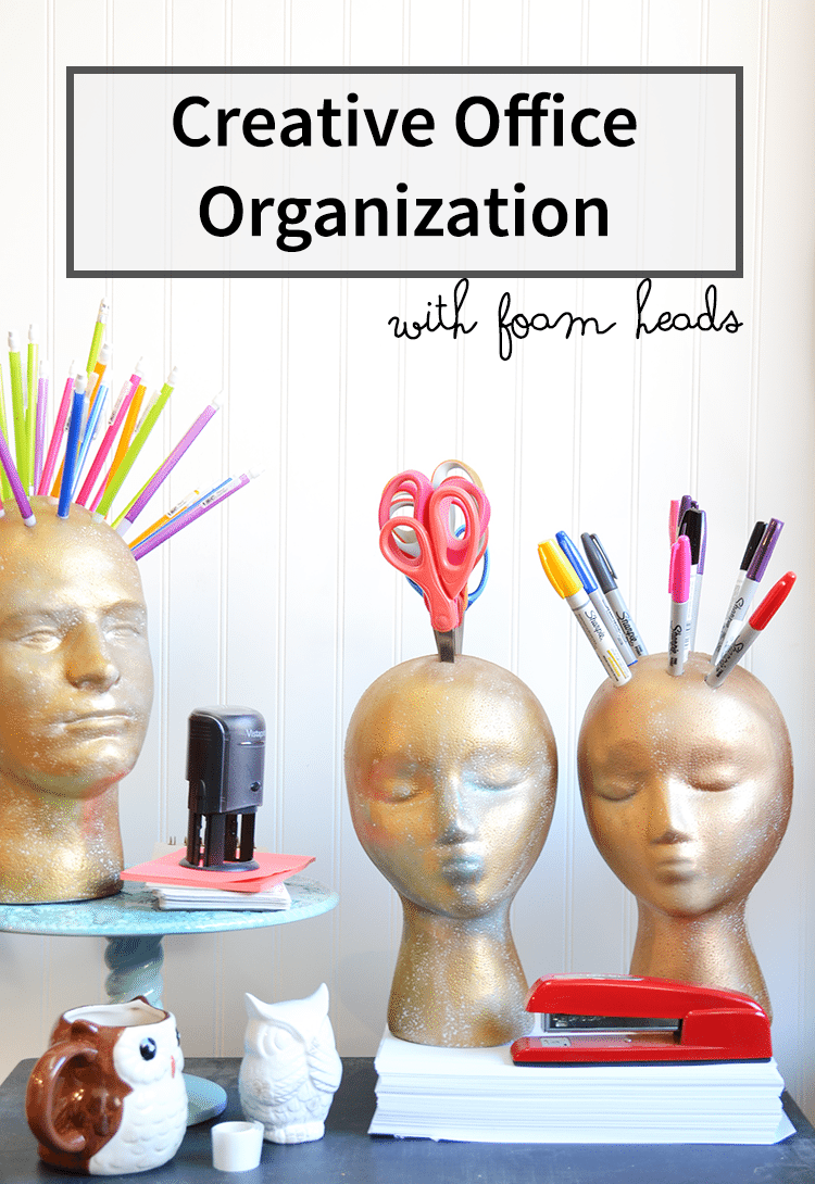 Office organization with foam heads and FloraCraft | tutorial #craft #organization #MakeitFunCrafts