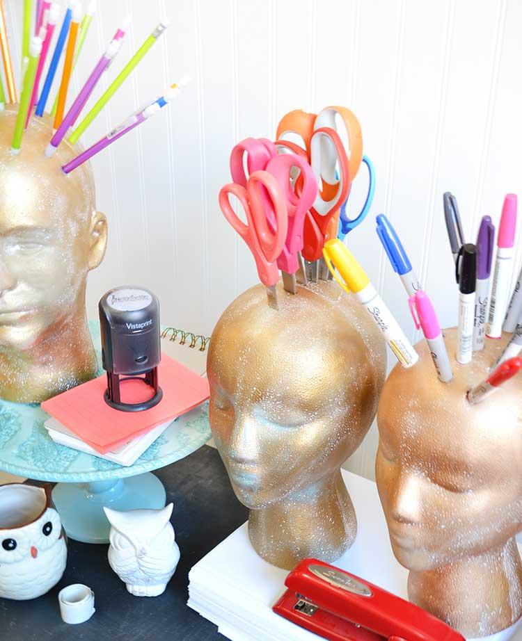 Office organization using foam heads from FloraCraft | tutorial #MakeitFunCrafts #organization #crafts