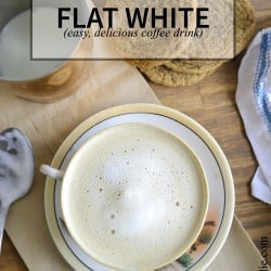 The flat white is a delicious coffee beverage popular in Australia, New Zealand, and South Africa. This coffee drink is often made like a latte, but this recipe doesn't require an espresso machine or any fancy ingredients.