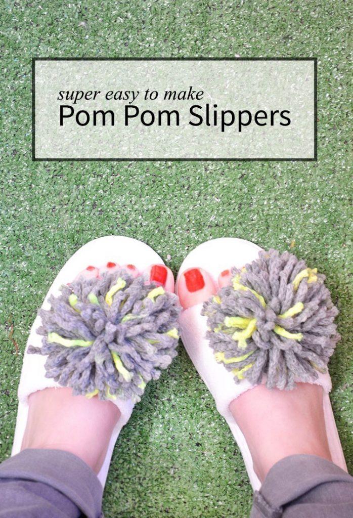 Easy to make pom pom slippers!