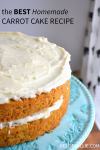 the BEST homemade carrot cake you'll make again and again! One bowl, easy to follow directions from nelliebellie.com