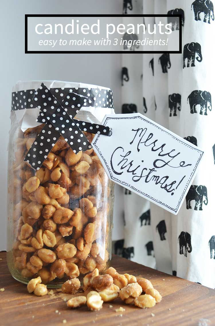 Make a batch of homemade candied peanuts for a fantastic gift idea! full tutorial at nelliebellie.com