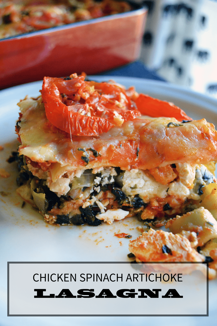 spinach chicken lasagna with artichoke. an easy & hearty recipe | nelliebellie.com