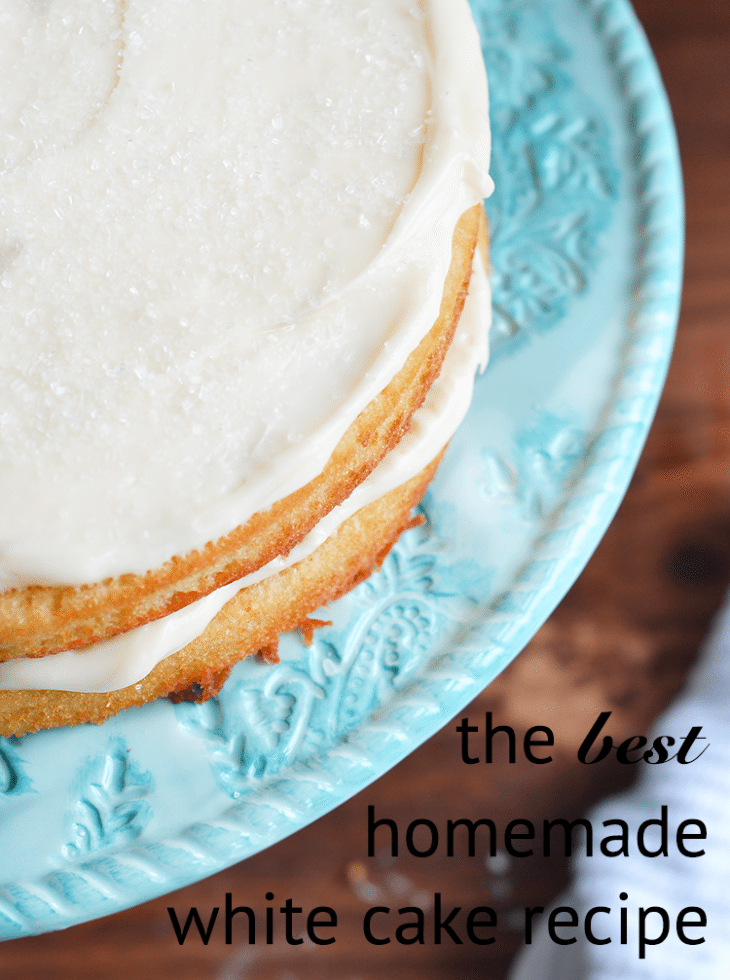 homemade white cake recipe that is as basic as it gets. And delicious!   nelliebellie.com   white cake, basic cake, dessert