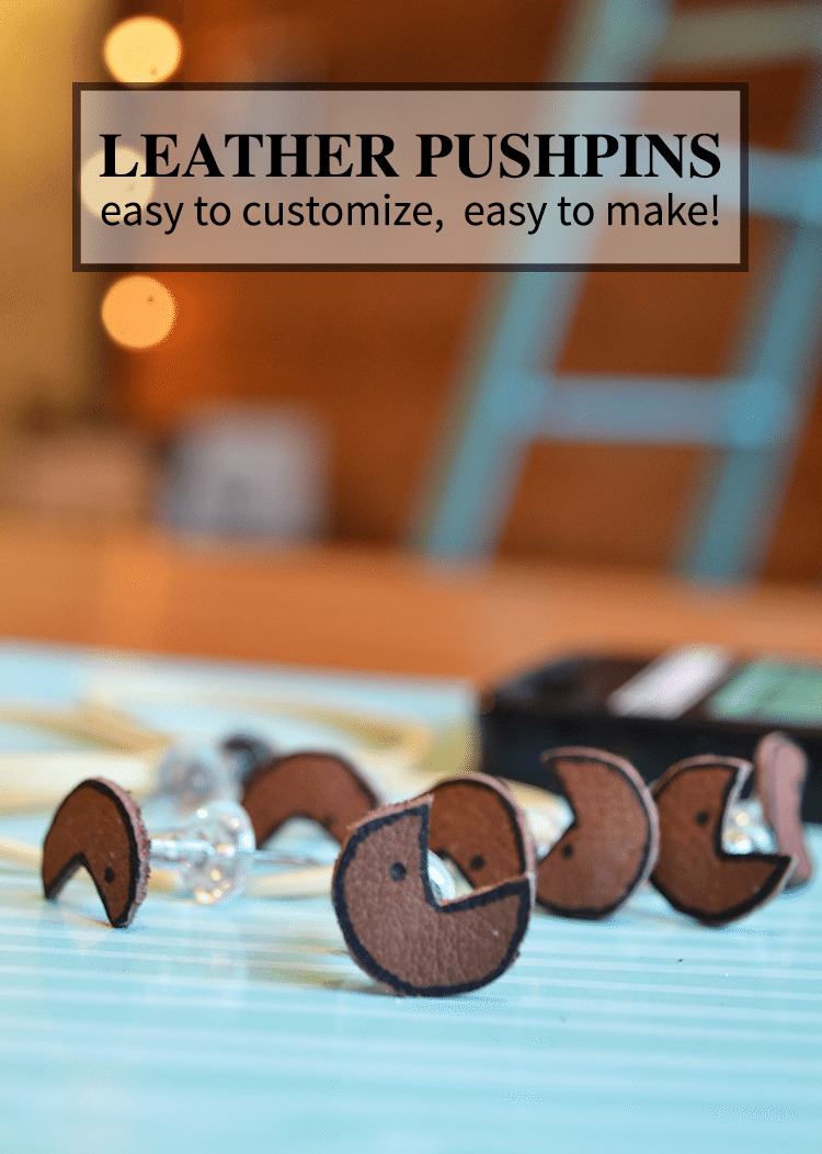 Leather diy pushpins are easy to make, easy to customizable and a fun gift idea!
