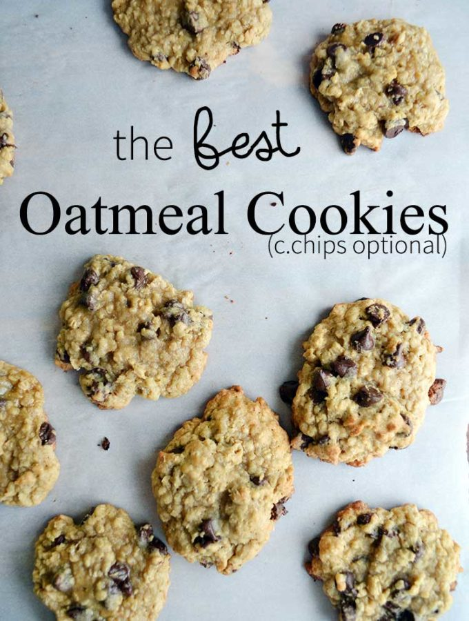 the BEST oatmeal cookie recipe. This version is made with chocolate chips which is our favorite version of oatmeal cookies. | nelliebellie.com oatmeal chocolate chip cookies, oatmeal cookies, cookie recipe