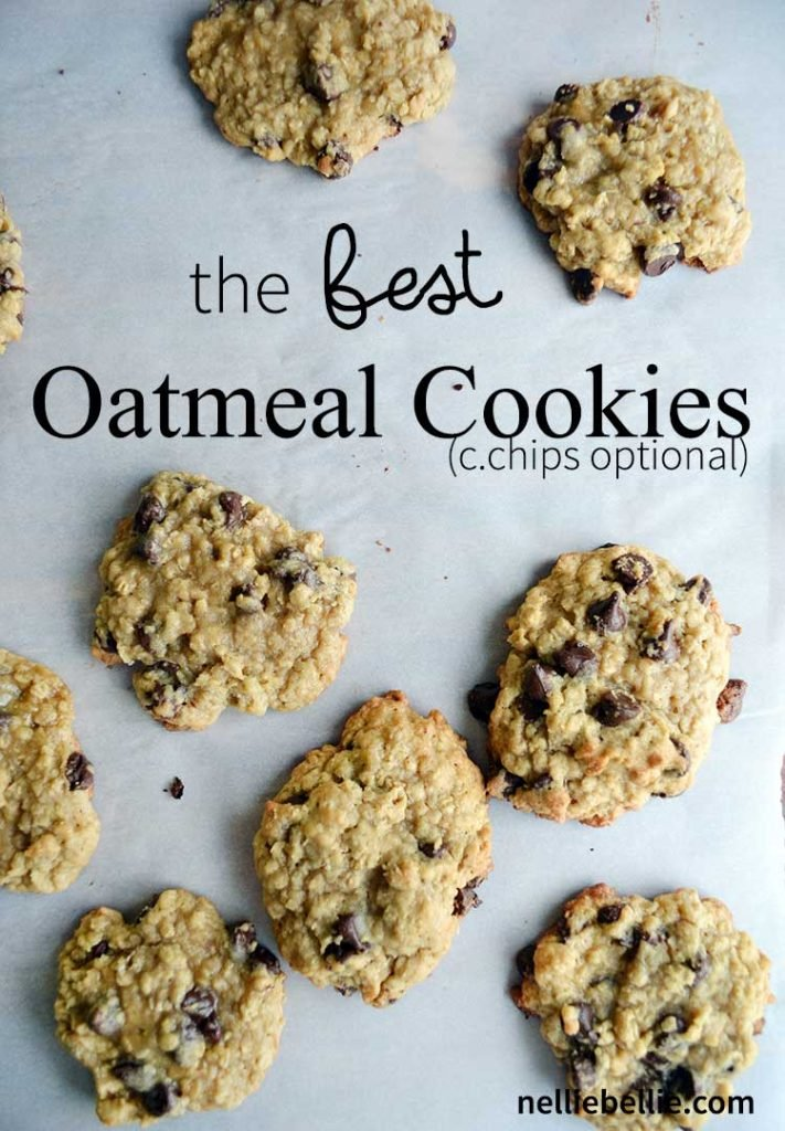 the BEST oatmeal chocolate chip cookies. This version is made with chocolate chips which is our favorite version of oatmeal cookies. | nelliebellie.com oatmeal chocolate chip cookies, oatmeal cookies, cookie recipe