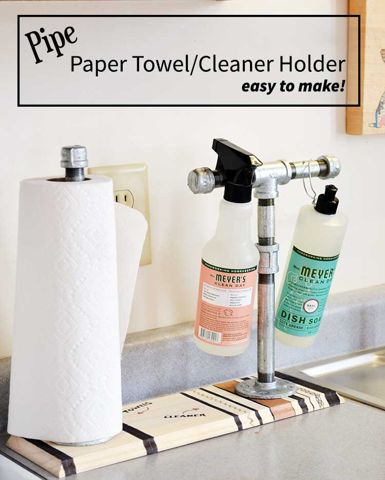Who knew you could create this pipe paper towel and cleaner holder super fast and easy! So cool! | nelliebellie.com