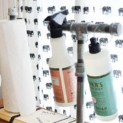 Full and easy tutorial for a pipe paper towel and cleaner holder by nelliebellie.com This is so easy to make and how great would that be to keep stuff organized!