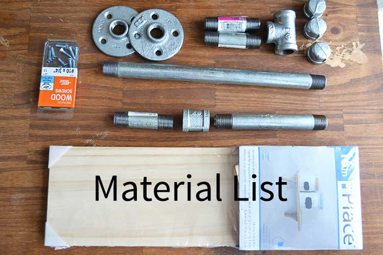 materials needed for a pipe paper towel holder.