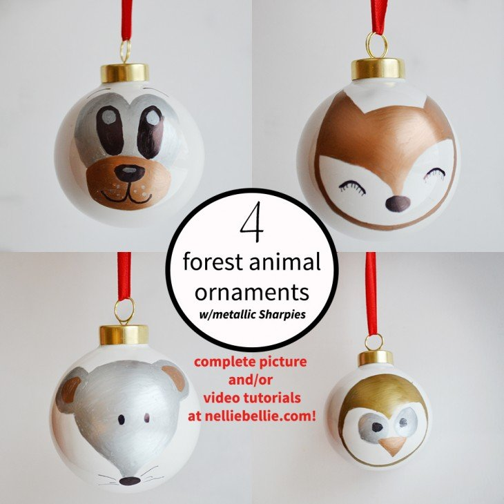 4 forest animal Sharpie ornaments. Easy to make with easy tutorial (including video!) at nelliebellie.com.  These are fun and easy gift ideas!