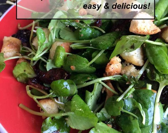 simple watercress salad that is fast and easy to make! This salad, along with some homemade croutons, is rich enough to be a light meal but doesn't take forever!