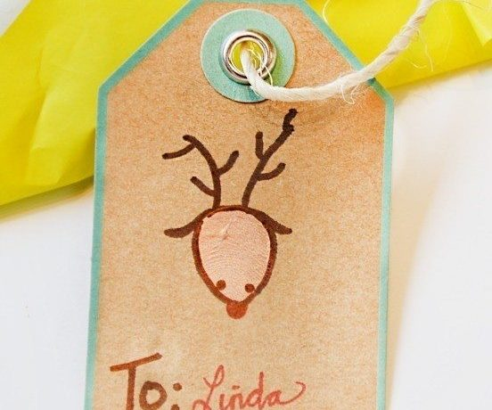 Thumbprint Christmas gift tags are a perfect way to include small children in the gift wrapping process. These are simple, easy and fun!
