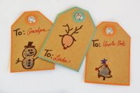 Thumbprint Christmas kids diy gift tags are a perfect way to include small children in the gift wrapping process. These are simple, easy and fun!