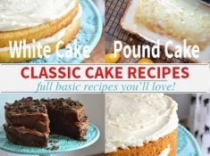A collection of classic basic cake recipes with the full recipes for white cake, chocolate cake, pound cake, and carrot cake. More cakes being added often.   nelliebellie.com