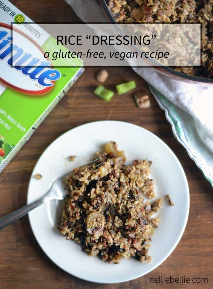 This vegan friendly, gluten-free rice dressing is a fabulous way to include those with allergies or dietary restrictions in every part of your meal! Delicious and easy to make! #minuteholiday rice dressing recipe