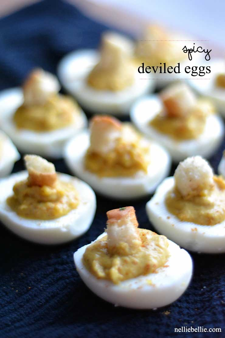 Spicy Deviled eggs an easy to make variation of the classic deviled egg.