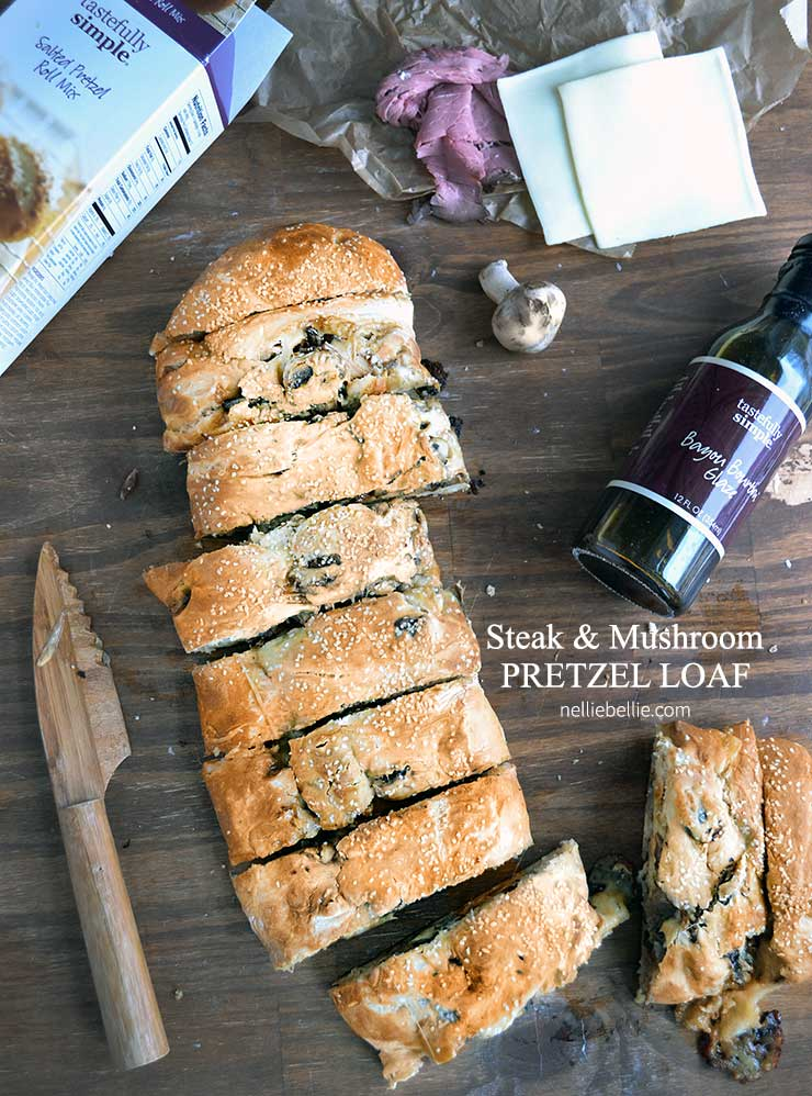 Steak and Mushroom Pretzel loaf is easy to make and great for entertaining!