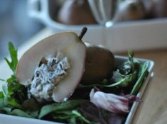Poached pear with wild rice filling are delicious and healthy! A MN favorite!