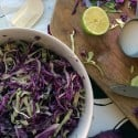 Basic Coleslaw recipe, video tutorial for making coleslaw, and a terrific recipe for Jalapeno Cilantro Colesolaw. Love that stuff on shrimp tacos!