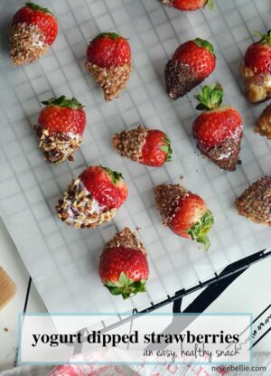 Yogurt dipped strawberries are very easy to make and are a great healthy snack!