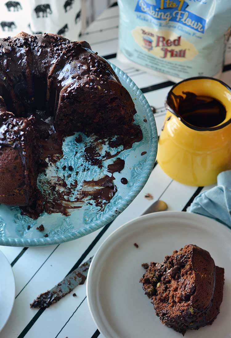 This gluten-free chocolate pistachio cake is made with dark chocolate ...