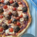 Meatball pizza recipe (we call it polka dot pizza in our house) is fast, easy, and delicious! A great recipe for family pizza night! #MeatballMasters #ad