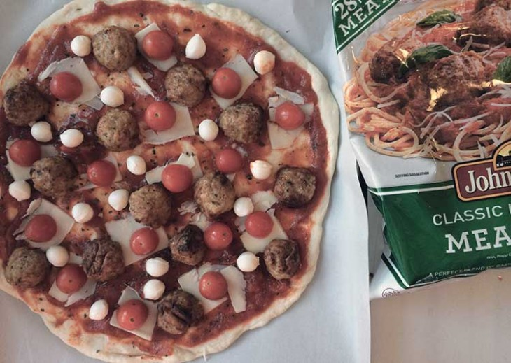 Meatball pizza recipe (we call it polka dot pizza in our house) is fast, easy, and delicious! A great recipe for family pizza night! #MeatballMasters