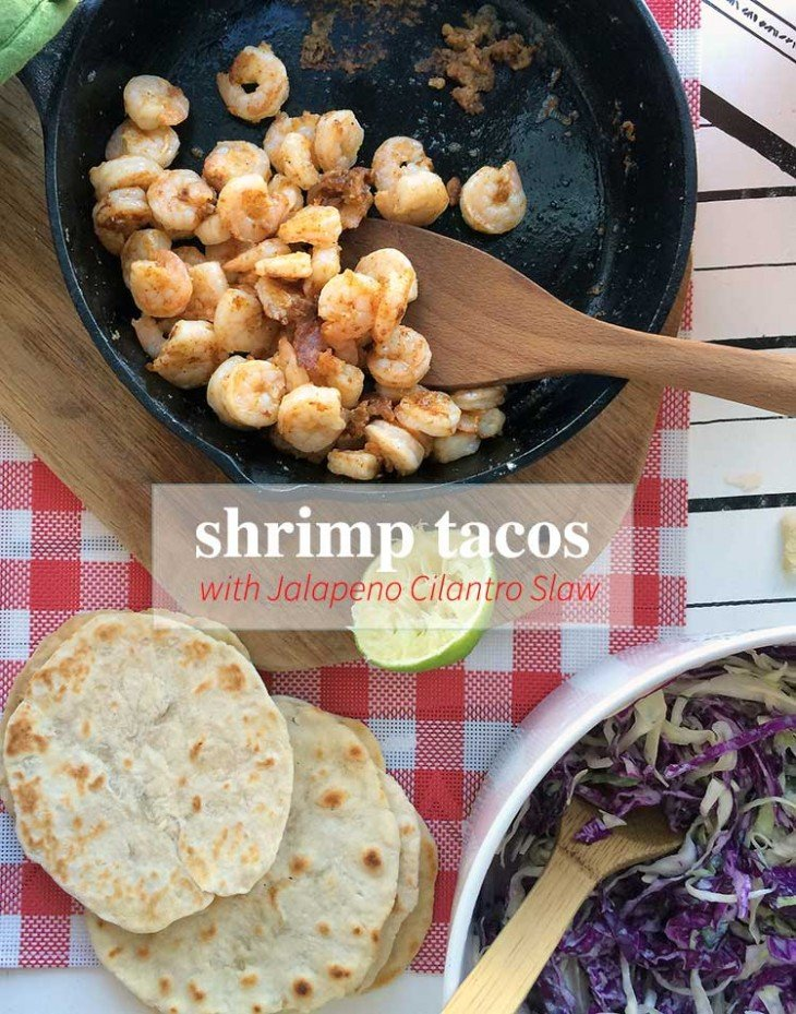 shrimp tacos are an easy, healthy dinner. This recipe uses Jalapeno Cilantro Coleslaw that is yummy!