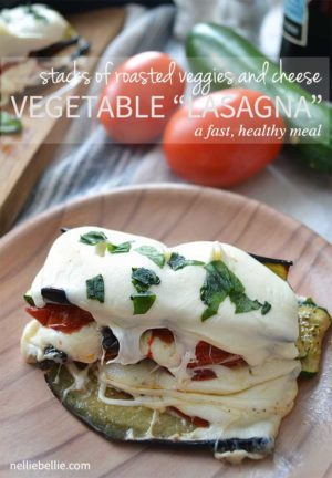 This easy vegetable lasagna is really made up of only roasted vegetables and cheese. vegetarian and gluten-free Delicious! nelliebellie.com