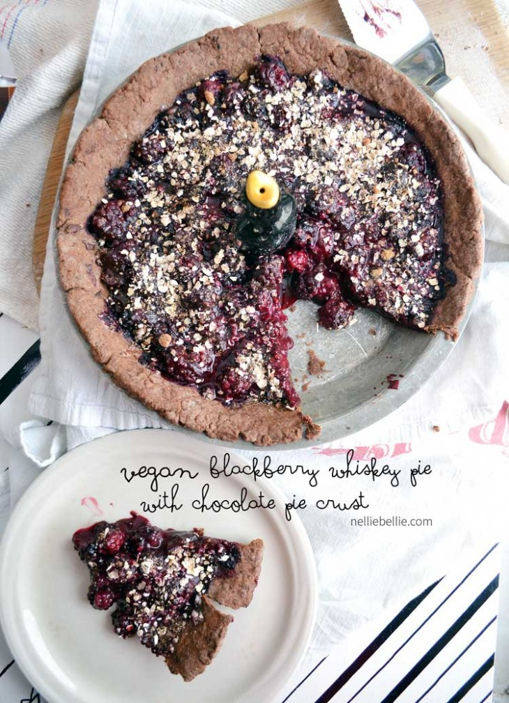 Blackbird Pie. A blackberry whiskey pie with a chocolate pie crust. Vegan and delicious.