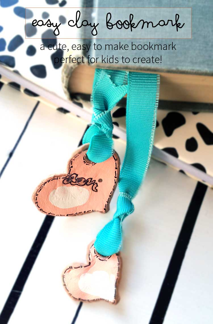 easy clay heart bookmarks. These are made with air-dry clay found at your local store. They are easy to make and great to personalize for Valentine's day with your child's thumbprint! Great idea for gifts.