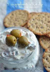 easy 3 ingredient olive dip that is a perfect appetizer for a party!