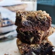 gluten free brownies with chocolate chip cookie topping; so delicious!