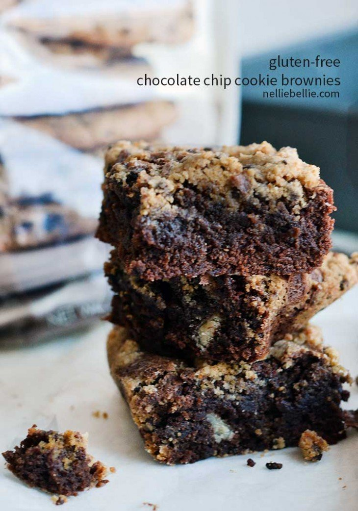 gluten free brownies with chocolate chip cookie topping is easy and absolutely delicious!